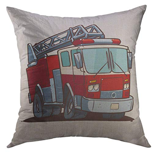Mugod Pillow Case Red Engine Cartoon Fire Truck White Firetruck Department Square Throw Pillow Cover Men Women Kids Cushion Cover 20x20 inch