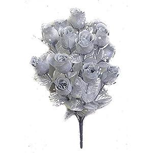 JenlyFavors 14 Heads Artificial Silver Rose Silk Flower Bush 111