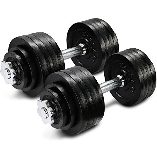 (Yes4All Cast Iron Adjustable Dumbbell Set – 105lb Dumbbell Weight for Muscle Toning, Strength Building, and Weight Loss (Sold in Pairs))