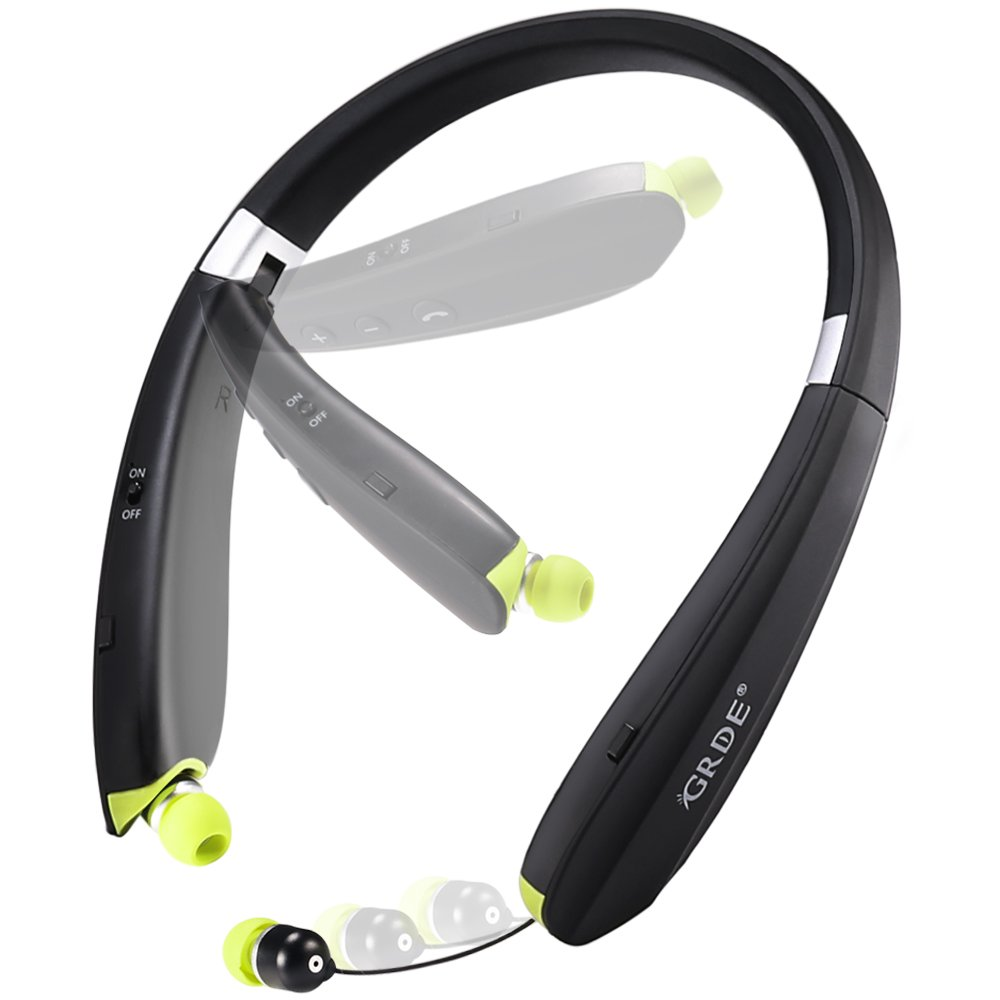 Bluetooth Headset, GRDE Wireless Bluetooth 4.1 Headphones with Retractable In-ear Earbuds Noise Cancelling Stereo Earphones with Microphone for iPhone 7 Samsung Cell Phones