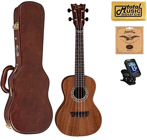 Dean Concert Ukulele, Koa Wood, Satin Natural, W/Hard Case,Tuner,Strings & PC