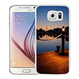NEW Unique Custom Designed Samsung Galaxy S6 Phone Case With Wooden Pier Dusk Light_White Phone Case