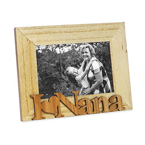 "Isaac Jacobs Natural Wood Sentiments ""I Love Nana"" Picture Frame, 4x6 inch, Photo Gift for Nana, Grandma, Family, Display on Tabletop, Desk (Natural)"