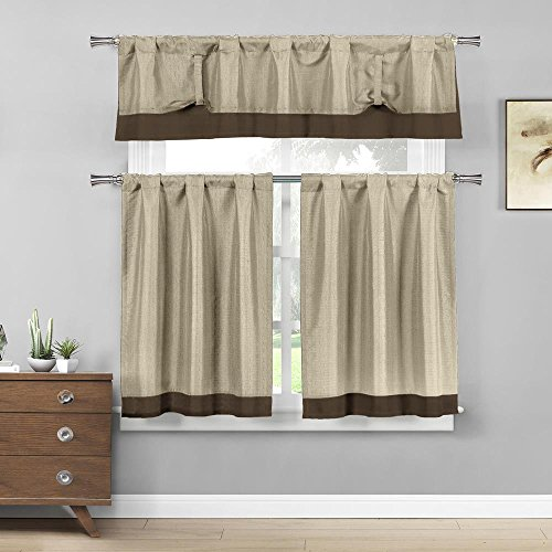 Home Maison  - Max Solid Linen Textured Kitchen Tier & Valance Set | Small Window Curtain for Cafe, Bath, Laundry, Bedroom - (Beige & Brown)