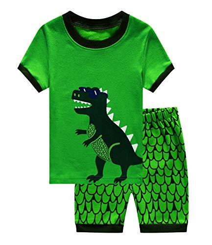 ids Cotton 2 Piece Sleepwear Short Sleeve Pajama Set Toddler Pajamas Truck Dinosaur 3-4Years 090 ()