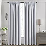 Aquazolax Thermal Insulated Back Tab/Rod Pocket Blackout Drape Curtains for Living Room, 2