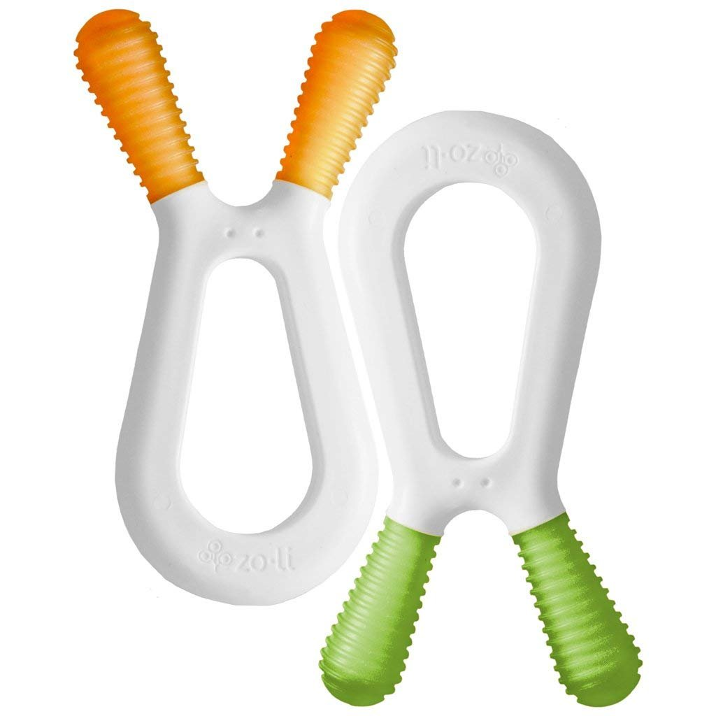 ZoLi BUNNY Dual Nub Teether 2 Pack (Green/Orange)