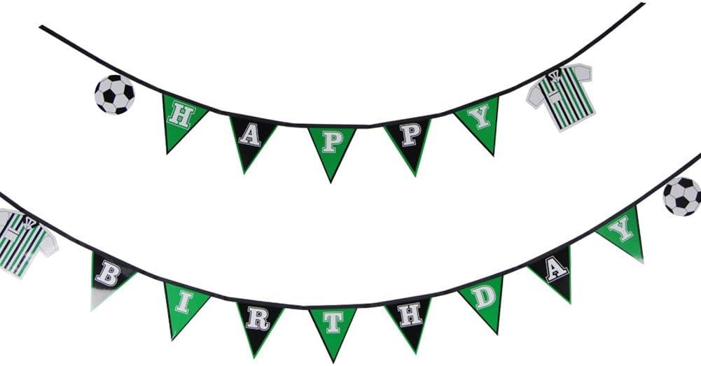 1 Set Soccer Happy Birthday Banner Flag Football Banner Sports Theme Party Banner for Kid's Room Boys Photo Prop Decor SUNBEAUTY (Birthday)