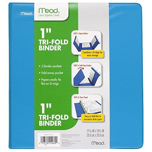 Mead 1 Inch 3 Ring Binder, Tri-Fold, Blue (38860)