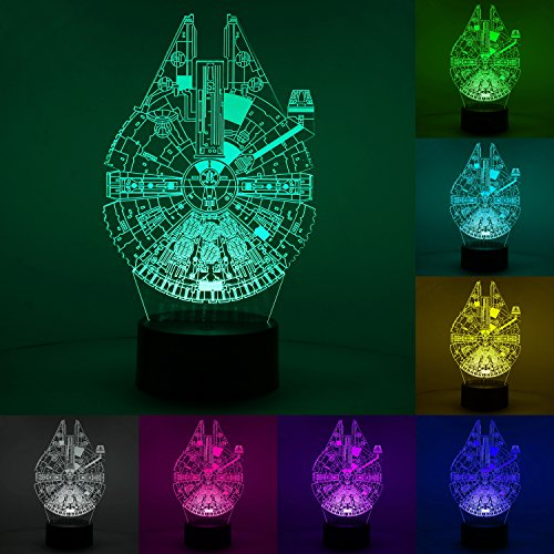 New Hiya 3D Illusion Star Wars Night Light, Three Pattern and 7 Color Change Decor Lamp for Kids and Star Wars Fans