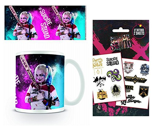 Set: Suicide Squad, Harley Quinn, Good Night Photo Coffee Mug (4x3 inches) and 1 Suicide Squad, Tattoo Pack (7x4 -