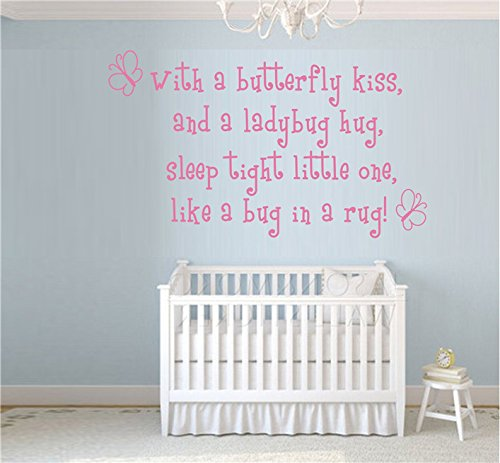 - Wall Sticker with A Butterfly Kiss for Kids Rooms Girl Removable Art Vinyl Nursery Decor Baby Girl Princess Quotes