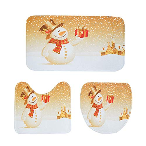 Weite 3-Pack Non Slip Merry Christmas Snowman Bathroom Rug M