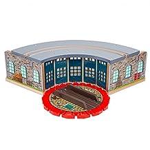 Orbrium Wooden Railway Roundhouse with Turntable Compatible with Thomas Wooden Railway System Brio Imaginarium Chuggington Melissa and Doug Engine Shed by Orbrium Toys