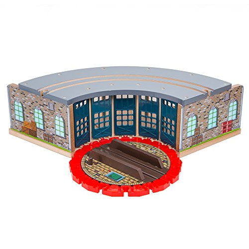 Orbrium Wooden Railway Roundhouse with Turntable Compatible with Thomas Wooden Railway System Brio Imaginarium Chuggington Melissa and Doug Engine Shed