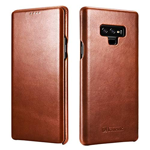 low cost c6879 4bda1 Galaxy Note 9 Case,ICARER Genuine Vintage Leather Side Open Case in Slim  Thin Design, Flip Folio Style Cover Compatible for Samsung Galaxy Note 9 ...