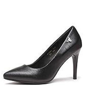 Frau Schwarz High Heels Mode Sexy Arbeit Gericht Schuhe Hochzeit Schuhe Leder Party NachtclubBlack-8.8cm-EU:37...
