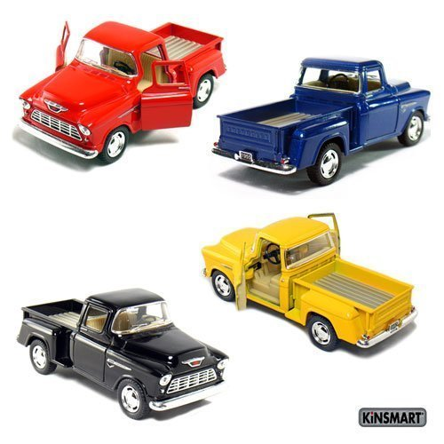 Set of 4 die-cast Chevy Stepside Pick-Up 1/32 Scale, Pull Back Action Cars. ()