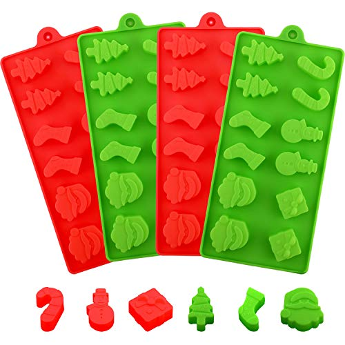 4 Pieces Christmas Silicone Chocolate Molds Set Non Stick Candy Molds Cookies Baking Trays with Christmas Elements Shapes (Red, Light Green)