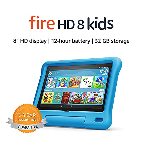 Fire HD 8 Kids tablet | for ages 3-7 | 8″ HD display, 32 GB | Blue Kid-Proof Case