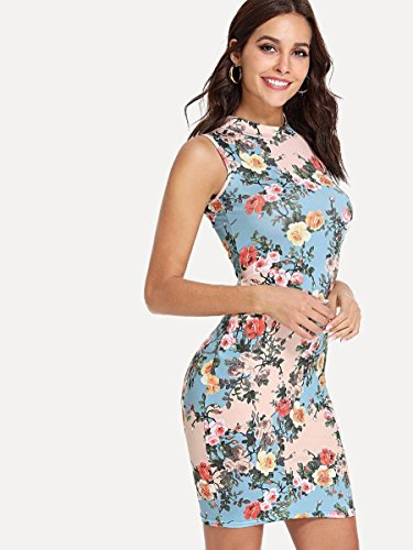 Neck Bodycon Dresses Sexy Floral Sleeveless Round Party Blue Print Summer Floerns Cocktail Women's gqzOnUxT
