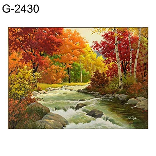 Bronze Fall Wall Frame - Narutosak Diamond Painting, 30x40cm Landscape Waterfall 5D Full Round Diamond Cross Stitch DIY Wall Painting - G-2430