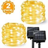 Solar LED Rope Lights Outdoor Solar String Lights BBounder Waterproof Copper Wire Fairy Christmas Lights Garden Patio Warm White 23FT 2 Pack