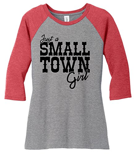 Comical Shirt Ladies Just A Small Town Girl Cute Country Tee 3/4 Raglan