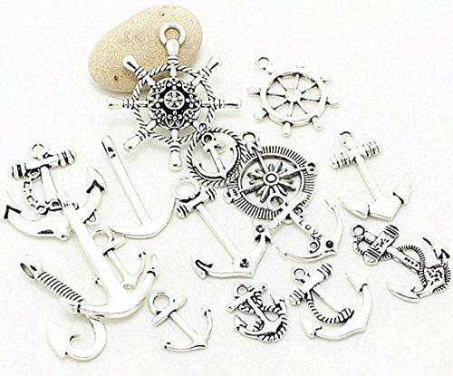 [38 PC Nautical Anchor Charm Pendant Random Mix Lot, Sailor Navy Jewelry Making DIY (Silver Tone)] (Vintage Costume Jewelry Lot)