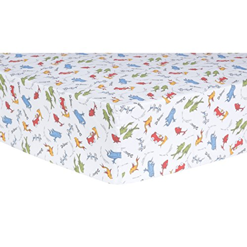 One Lab - Trend Lab Dr. Seuss One Fish, Two Fish Fitted Crib Sheet, Red/Green/Blue