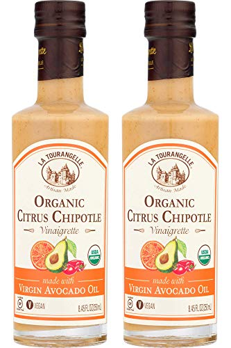 Chipotle Vinaigrette - La Tourangelle Organic Citrus Chipotle Vinaigrette, 8.45 fl. Oz., 2-Bottle Pack, Salad Dressing and Marinade, Made with Organic Virgin Avocado Oil, Gluten-Free, Low Sodium, 2 Count