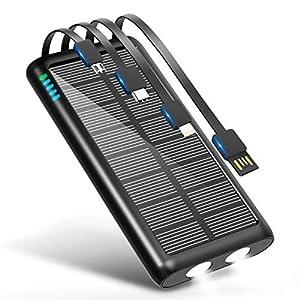 モバイルバッテリー ソーラー 大容量 31200mAh 急速充電 【 Type-C出力ポート付き & 2個高輝度LEDライト付き 】