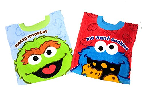 Sesame Street Messy Monster Cookie Monster Baby Bibs- 2 Piece Pack (Messy Monster/Cookie Monster)