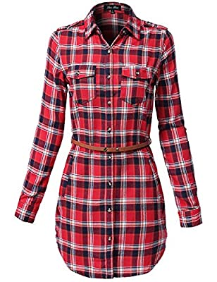 Luna Flower Women's Cotton Checkered Plaid Belted Shirt Dresses