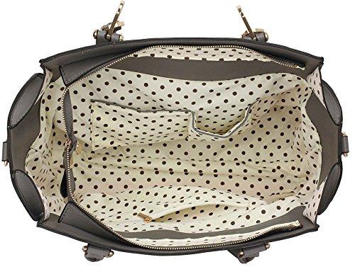 ANNA GRACE - Bolso de tela de piel sintética para mujer Design 1 : Grey/White