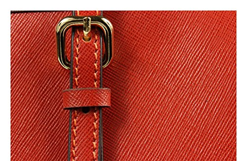 Schöne praktische Leder Lelia Piccola Arancione über die Schulter