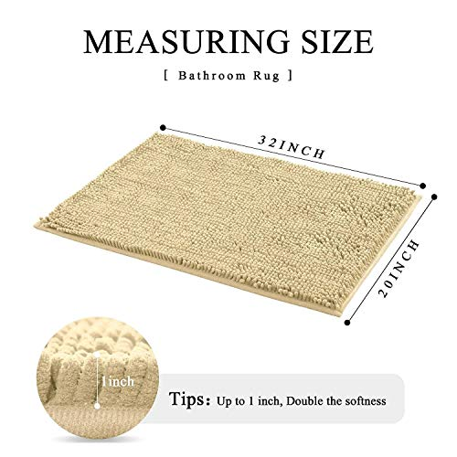 HOMEEY Bath Rug, Non Slip Thick Shaggy Chenille Bath Mats for Bathroom, Extra Soft and Absorbent Bathroom Mat, Machine Washable Bath Mats for Bathroom/Kitchen (32 x 20 Inch, Camel)