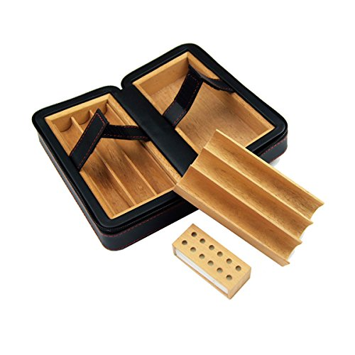 E-SDS Cigar Humidor,Portable Travel Cigar Case, PU Leather Cigar Box Wood Lined 6 Count (Black) by E-sds (Image #3)
