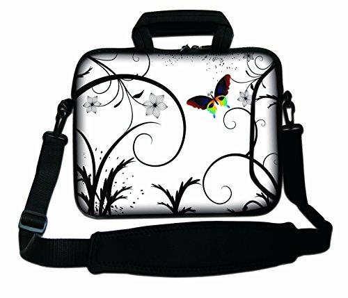 """10""""-17.6"""" Pulgadas Bolso de hombro con diseño, Funda con Bandolera en Neopreno para Ordenador Portátil. Muchos diseños y tamaños disponibles!!! (Part 2 of 2) Mariposas y Flores Blancas"""