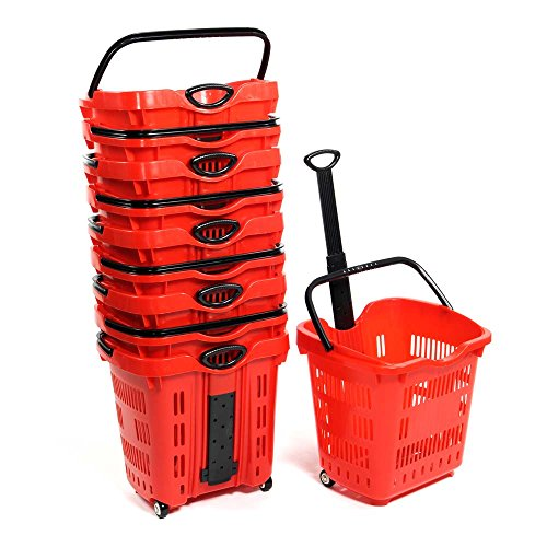 Set of 10 Red Plastic Rolling Shopping Basket 18 3/4''W x 15 3/4''D x 18 1/2''H by Rolling basket