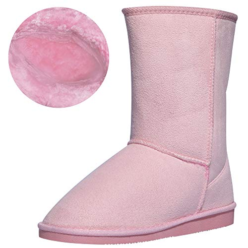 CINAK Women's Resistant Snow Warm Boots Gift Fashion Christmas Short Boots Suede Mid-Calf Boots (9-9.5 B(M) US/ CN41 / 10'', Pink) ()
