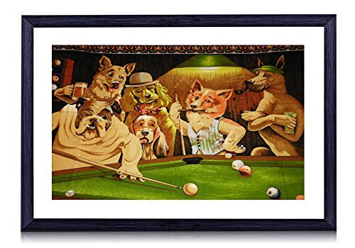 Framed Dogs Playing Pool Art (POOL PLAYING DOGS - Art Print Black Wood Framed Wall Art Picture 24x16 inches Framed)
