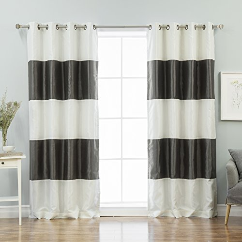Best Home Fashion Striped Dupioni Faux Silk Blackout Curtain - Antique Bronze Grommet Top  - Dark Grey - 52