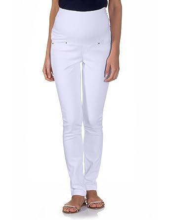 2588bed88f5a bellybutton Damen Umstandsmode Hose 11778  Melena, Gr. 42, Weiß (white 90501