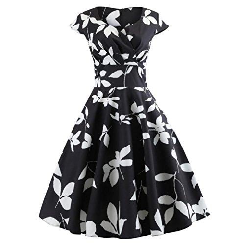Women Vintage Dress,Clearance! AgrinTol Fashion Ruched V Neck Evening Printing Party Prom Swing Dress