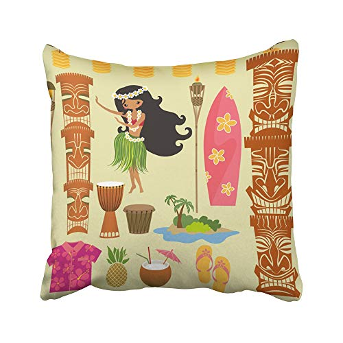 Emvency Decorative Throw Pillow Covers Cases Luau Hawaii Symbols and Including Hula Dancer Tiki Gods Totem Pole Drums Torches and Hawaiian Party 18x18 Inches Pillowcases Case Cover Cushion Two Sided