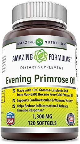 Amazing Formulas Evening Primrose Oil 1300 Mg 120 Softgels – High Potency- Made with 10 Gamma Linoleic from Non-GMO Hexane Free Cold Pressed Oil