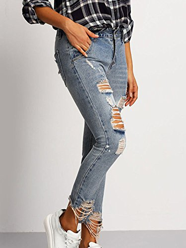 Slim Distrutti Skinny Casuale Donna Strappati Marino Blu Pantalone Fit Jeans Pantaloni Boyfriend 7xqOB1Rwp