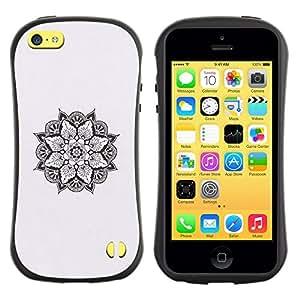 Suave TPU GEL Carcasa Funda Silicona Blando Estuche Caso de protección (para) Apple Iphone 5C / CECELL Phone case / / Art Black White Spiritual /