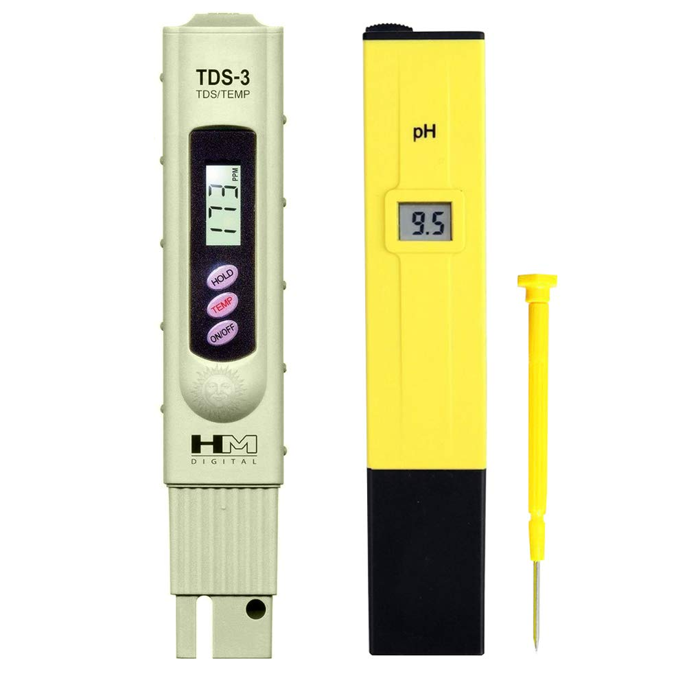 Digital PH and TDS Meter Set by SunGrow - Highly accurate readings - Lightweight, portable & Easy to read LCD screen: Monitor hydroponics, aquarium, fruit, tap water, pool water - Batteries included